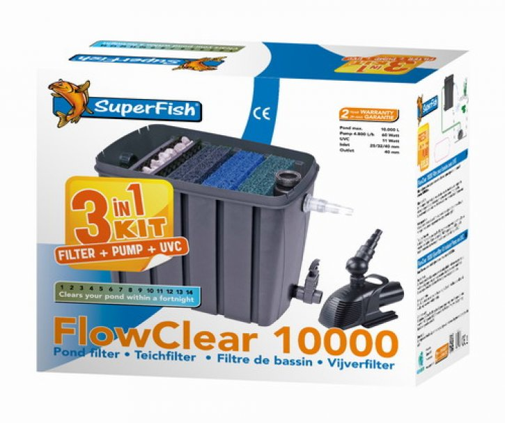 superfisch flowclear 10000 kit teichfilter mit pumpe uv. Black Bedroom Furniture Sets. Home Design Ideas